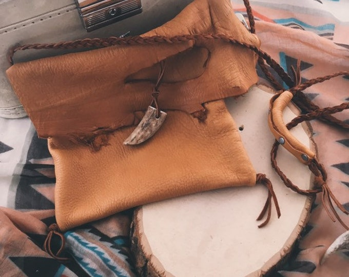 Deerskin Leather Bag + Antler Tip // Handmade in Wyoming