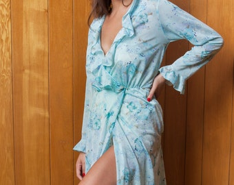Vintage Baby Blue Sheer Robe with Ruffles and Floral Print, Size XS-M