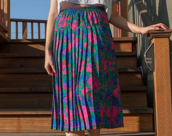 80's Floral Pleated Midi Skirt, Size M/L