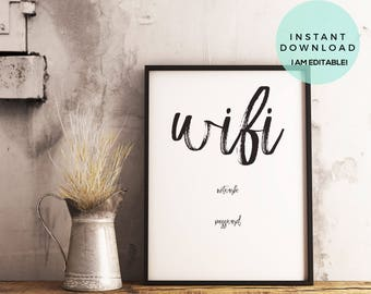 Wifi Password Printable, Wifi Password Sign, Brush Lettering, Guest Room Wifi Sign, Guest Wifi, Guest Room Printable, Wifi Password Editable