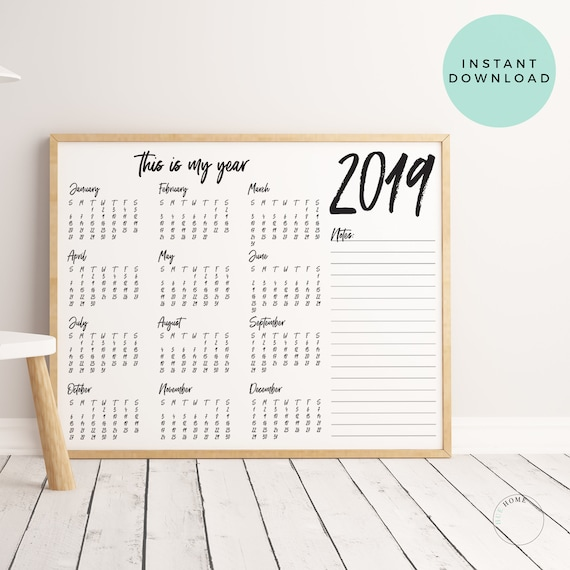 This Is My Year 2019 Office Calendar Year At A Glance Desk Etsy