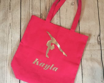 Personalized Custom Made to Order Gymnastics Tote Bag with Name and Gymnast-Black, Pink, Gray, White with Glitter or Matte Graphics