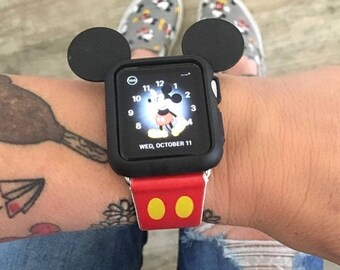 Apple Watch Leather band ,Apple Watch Case 42mm, 38mm, Leather watch band, Apple watch strap, iwatch band , Mickey Mouse Ears iwatch strap