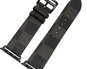 Leather Apple Watch band, 42mm, 38mm, Leather watch band, Apple watch strap, iwatch band Apple watch leather band, lv black iwatch strap