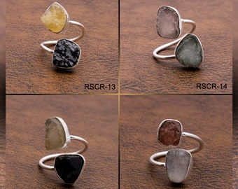 925 Sterling Silver Bracelet Natural Raw Gemstone Handcrafted Jewelry RSBR8