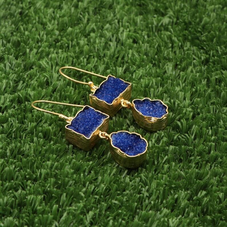 Gold Plated Earrings Dangle Drop Earrings Natural Agate Druzy Gemstone AAA Druzy Earrings Stylish Earring A-16008 Dangle Earrings