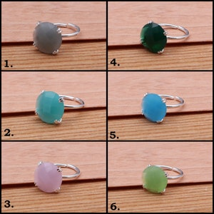 Adjustable Rings Gift For Mom EJ-1312 Silver Plated Handmade Rings Chalcedony Gemstone Rings Gift For Her Prong Style Rings