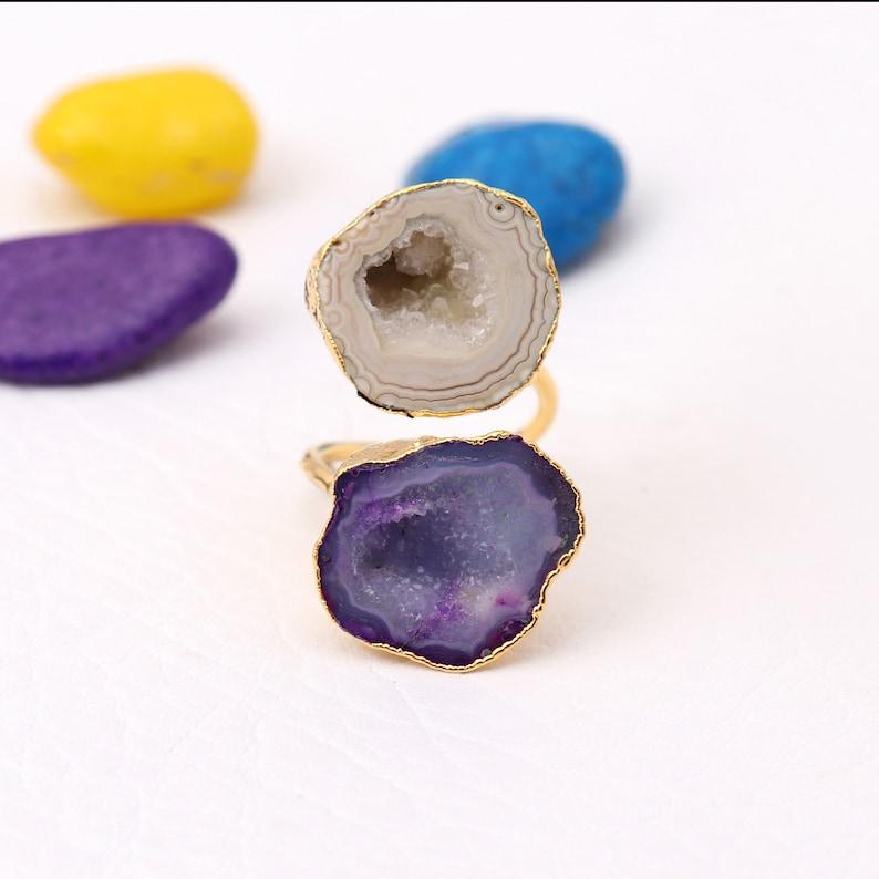 Geode Druzy Rings Gold Electroplated Rings,Adjustable Rings Natural Geode Druzy Gemstone Gemstone Druzy Rings EJ-1702