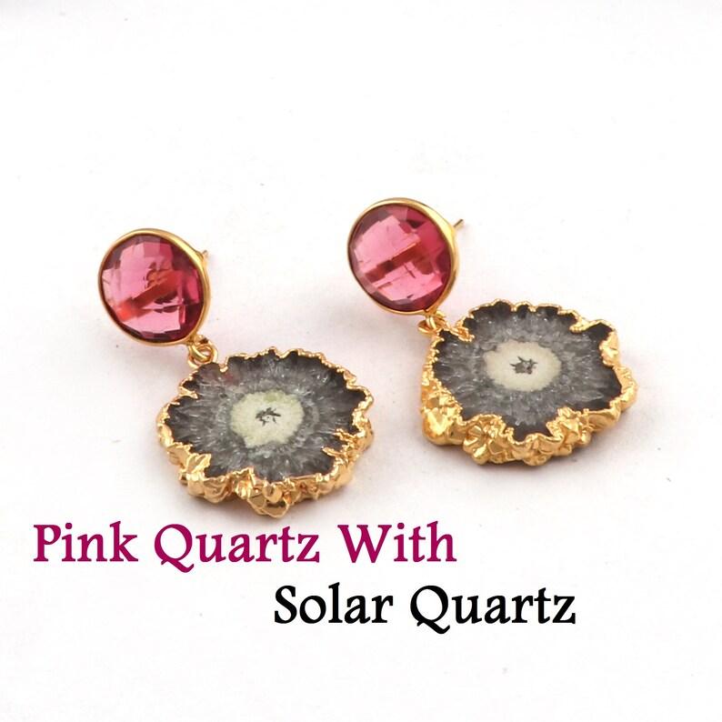 Dangle Drop Earring For Women Girls Best Quality Quartz Earring Jewelry Quartz Stud Jewelry Solar Quartz Gold Plated Jewelry B-4048