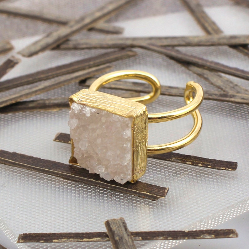 A Best quality Gemstone Rings Gold Plated Rings 14 MM Square Adjustable Ring Jewelry EJ-1082 Handmade Rings Natural Agate Druzy Ring