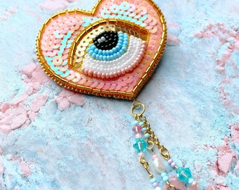 Heart-shaped Evil Eye Friend - Pastel Pink and Blue (50)