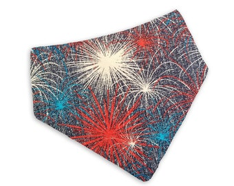 Fireworks Bandana/ Dog Bandana/Snap on Bandana/Tie on Bandana/D-ring Bandana