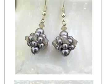 Swarovski lilac pearl and crystal drop earrings.