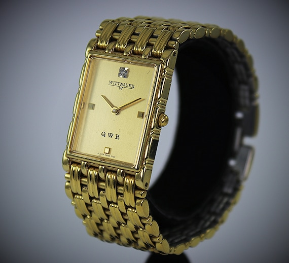 Wittnauer Watch Value >> Vintage Unisex Wittnauer Qwr 14kt Gold Plated Wrist Watch With Diamond Accent