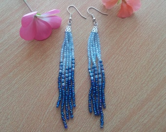 Blue earrings Fringe earrings Beaded earrings Ombre earrings Beaded jewelry Gift for her