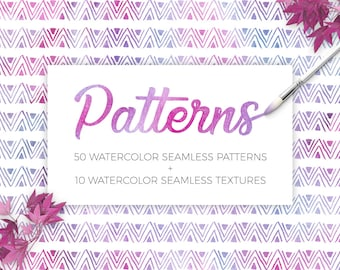 Hand Drawn Seamless Vector Patterns, Watercolor Seamless Textures, Watercolor Background, Digital Paper, Dots, Triangles,Ttripes, Circles