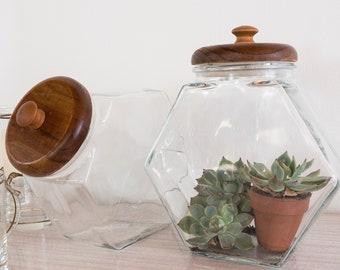 Vintage glass kitchen canister | vintage cookie jar