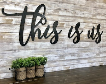 This Is Us Wood Words Word Cutouts Sign Distressed Home Decor Script Wall Art Laser Cutout