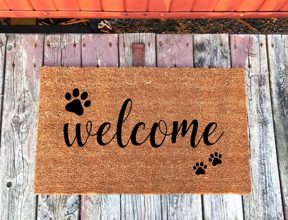 Dog Doormat, Dog Decor, Pet Doormat, Custom Doormat, Paw Print Doormat,  Personalized Doormat, Pet Lover Doormat Gift, Welcome Doormat