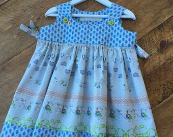 Pinafore Dress, toddler dress, Rabbit print dress,  party dress