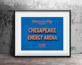 ef9c70d5dc6 Chesapeake Energy Arena, OKC Thunder, Vintage Basketball, Basketball  Poster, Retro Print, OKC Fan Gift, Gift For Boys, Oklahoma City