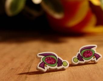 Ray Gun Printed Acrylic Stud Earrings