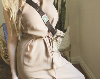 Beige Silk Dress / 100% Silk / Vintage Dress / Vintage Silk Dress / Vintage Summer Dress / Vintage Petite Dress / Tank Dress