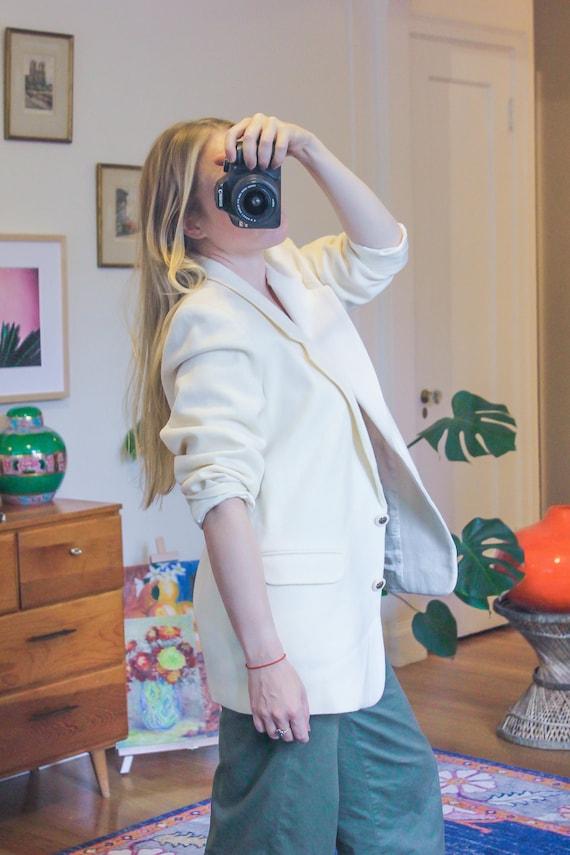 Vintage White Wool Blazer / White Vintage Blazer /