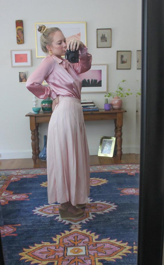 Vintage Pink Pleated Skirt / Vintage Midi Skirt /
