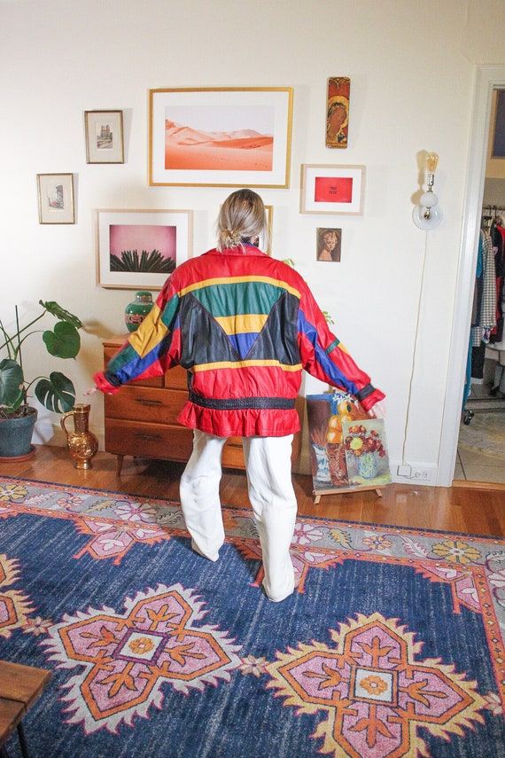 1980s Red Leather Jacket / 80s Red Leather Jacket… - image 4
