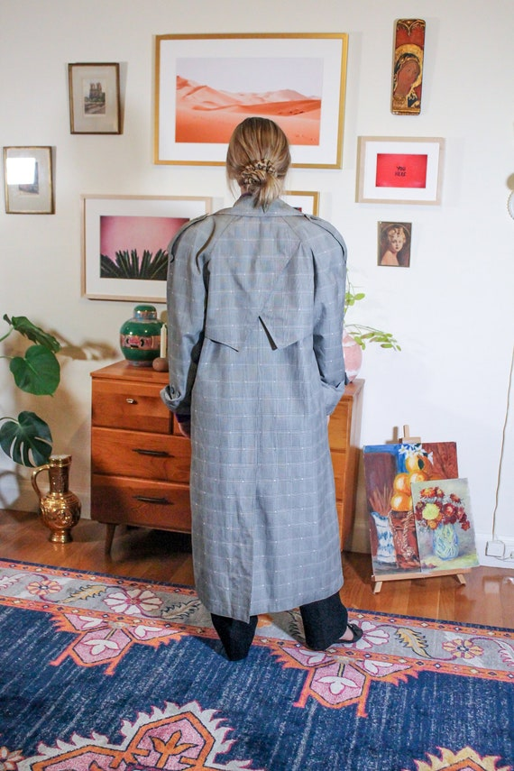 Vintage Plaid Glen Check Coat / Glen Check Trench