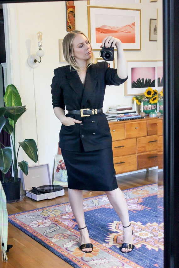 Vintage Black Wool Skirt Suit / Black Wool Blazer