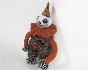 Happy Little Skeleton Guy – Clay and Salvaged Fabric Soft Sculpture