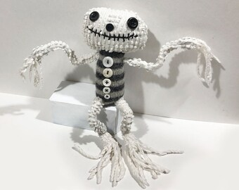 Chenille Skellie 2 - Hand-Stitched Mixed-Media Art Doll