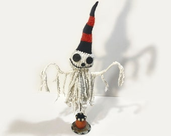 Ghoulie-Ghostie with a Striped Hat - Hand-Stitched Mixed-Media Art Doll