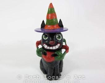 Happy Grinning Black Halloween Cat 2 - Mixed Media Clay & Hardware Sculpture