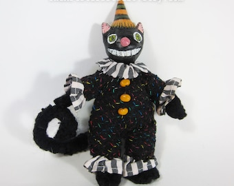 Happy Little Halloween kitty – Clay and Salvaged Fabric Soft Sculpture