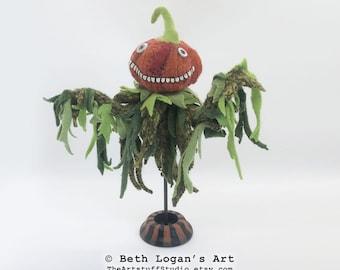 Pumpkinhead Ghoulie II Hand-Stitched Mixed-Media Art Doll