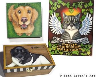 Custom Pet Portrait - Unique Acrylic Painting or Wood Keepsake Box