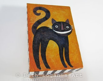 Happy Spooky Kitty Hand-Painted Paper-Mache Goodie Box