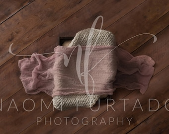 Digital Background - Wood Floor, Crate with Layers - Light Pink and Cream