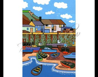 The Cobb, Lyme Regis, Mounted Giclee Print