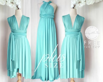 355126fe466a9 BB Plus size Floor length Maxi Infinity Multiway Convertible Formal Prom  Bridesmaid dress in Turquoise
