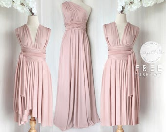 BB Floor length Maxi Infinity Multiway Convertible Formal Prom Bridesmaid  dress in Nude pink e4d40afd666a