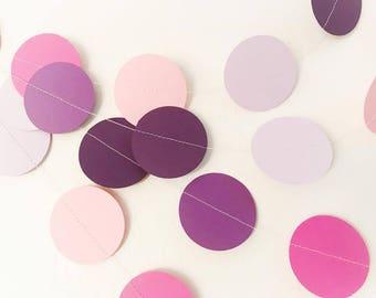 Birthday decorations - Baby shower decorations - Pink Purple Circle garland - 10 feet - Sweet Sixteen decor - Table decor - Wedding decor