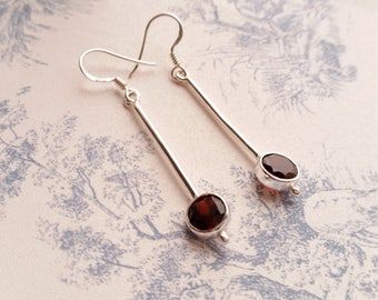 Red Garnet Handmade 925 Sterling Silver Drop Long Dangle Earrings January Birthstone for Women Ladies Gift for Her