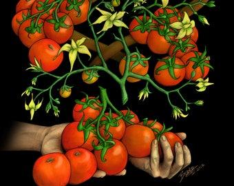 CRISPR Tomatoes - Science Art Print (Molecular Biology, Plants, Biotechnology, Cas9, Genome Engineering, STEM, Teacher, Gift, PhD, Giclee)