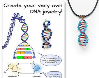 DIY Jewelry Kit for DNA Necklace or Earrings with Tutorial, STEM Craft Activity for Kids and Adults  (Beata Science Art, Biology, Gift)