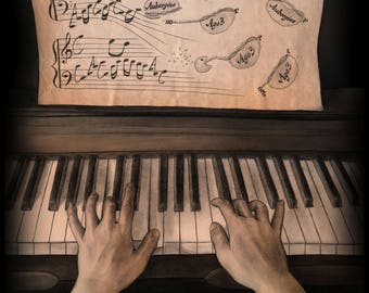 A Melody Played by Two Hands - Science Art Print (Molecular Biology, Genetics, Cells, Gene Expression, RNA, DNA, STEM, Teacher, Gift)