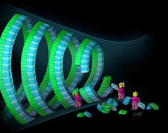 ESCRT Lego - Science Art Print (Molecular Biology, Cells, Mitosis, Cytokinesis, Abscission, Endosome, Membrane, STEM, Teacher, Gift, Giclee)